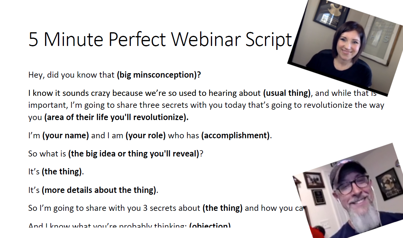 The 5 Minute Perfect Webinar Template from Jaime Cross & Jim Edwards